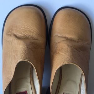 Vintage Shoes - Vintage 90s Leather Blay Mules Made in Spain